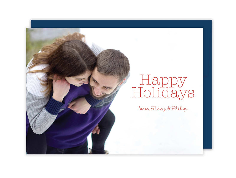 Happy Holidays Photo Christmas Cards - Foil Letterpress or Flat Printed - Tea and Becky
