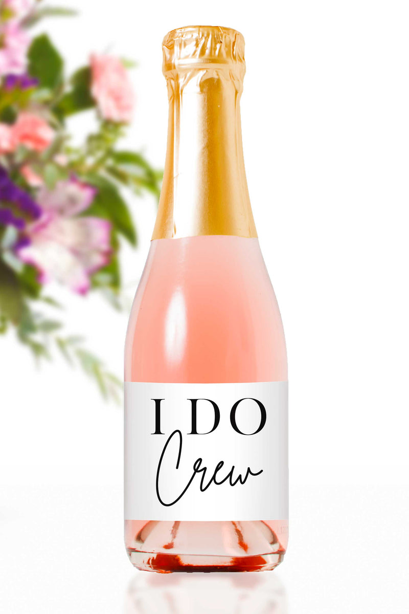 I Do Crew Mini Champagne Bottle Labels - Tea and Becky