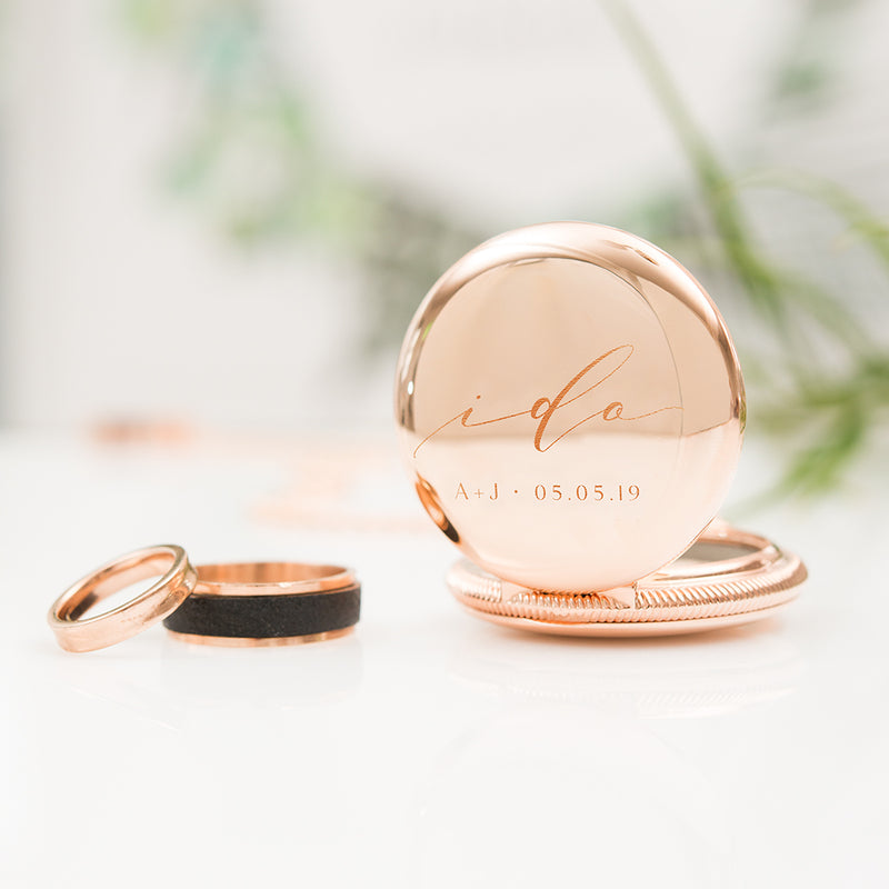 I Do Wedding Ring Box - Personalized Modern Pocket Case - Gold or Rose Gold - Tea and Becky