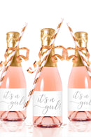 It's a Girl Mini Champagne Bottle Labels for Baby Shower - Tea and Becky