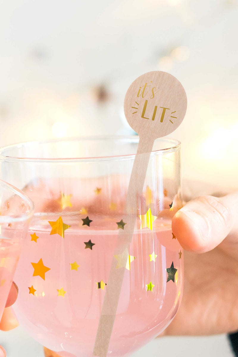 It's Lit Stir Sticks in Gold - Set of 10 - Tea and Becky