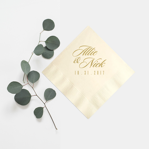 Personalized Napkins - Set of 50 Foil Wedding Cocktail Napkin - Carrie Collection - Tea and Becky