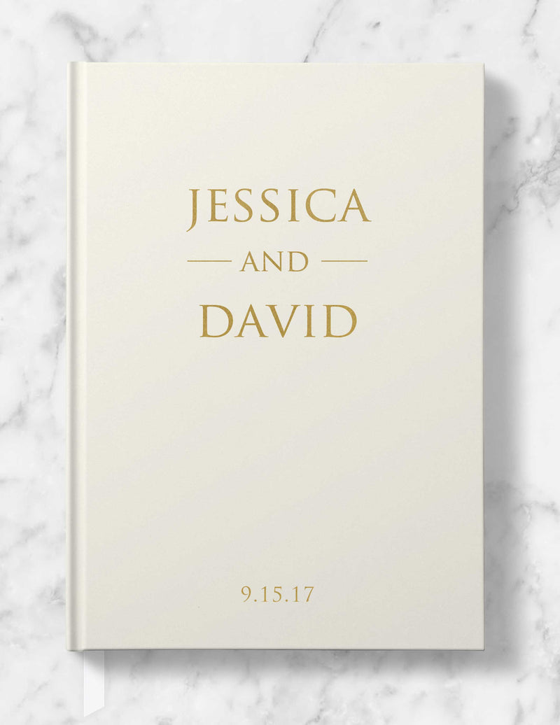 Classic Personalized Wedding Guest Book - Gold, Silver or Rose Gold Foil - Helen Collection - Tea and Becky