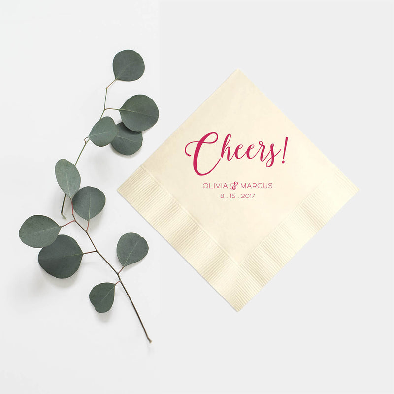 Cheers Personalized Wedding Napkins - Set of 100 - Rebecca Collection - Tea and Becky