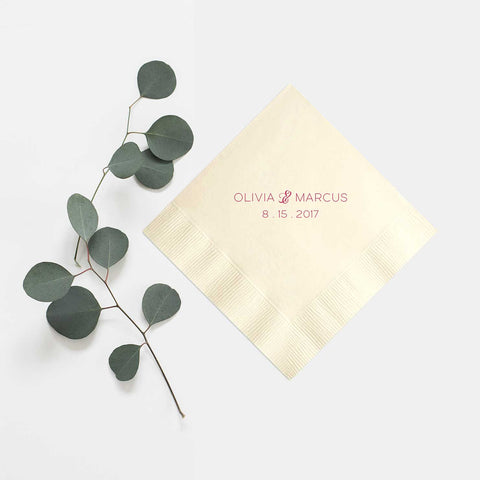 Personalized Napkins - Set of 100 Foil Wedding Cocktail Napkin - Rebecca Collection - Tea and Becky