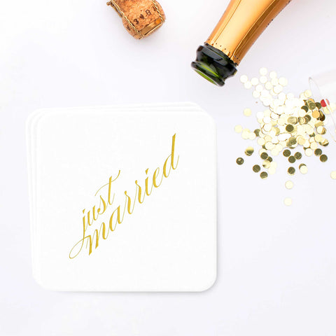 Just Married Coasters - Gold Foil - Set of 25 - Tea and Becky