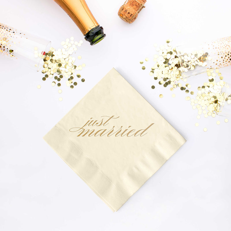 Just Married Napkins - Set of 25 - Tea and Becky
