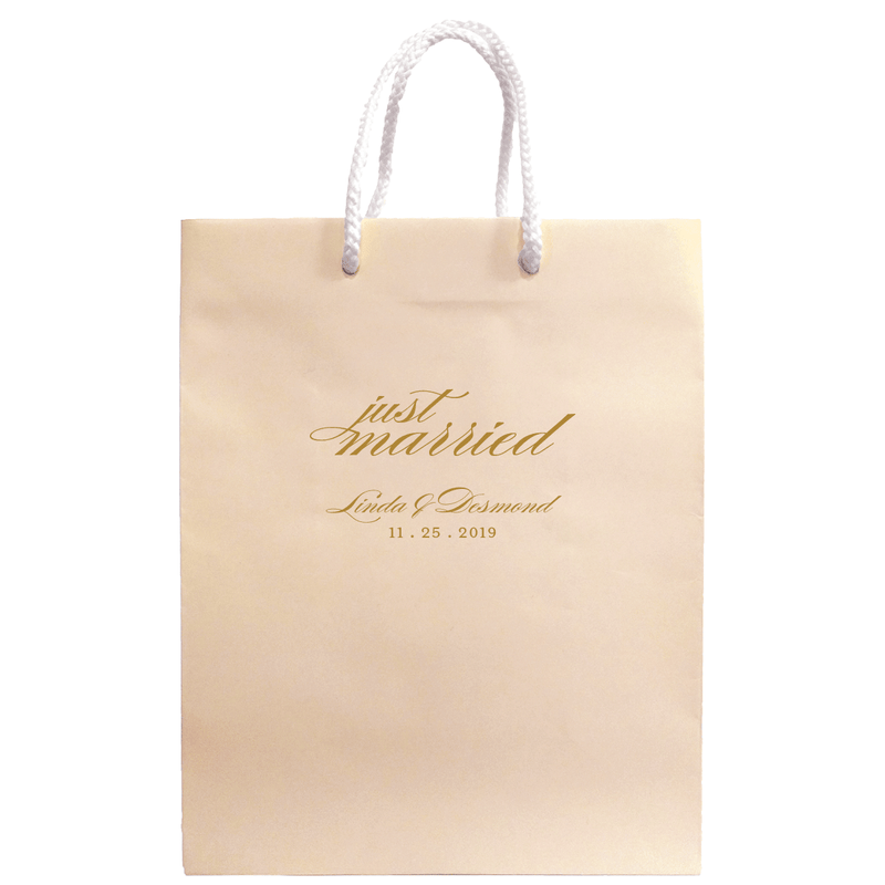 Just Married Wedding Welcome Bags - Personalized Gift Bag - Audrey Collection - Tea and Becky