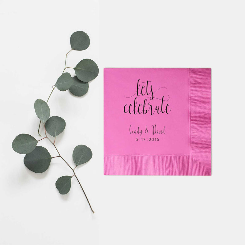 Let's Celebrate Personalized Wedding Napkins - Charlotte Collection - Tea and Becky