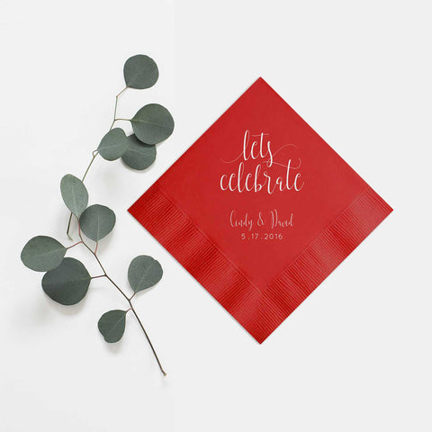 Let's Celebrate Napkins - Set of 100 Foil Personalized Cocktail Napkin - Charlotte Collection - Tea and Becky