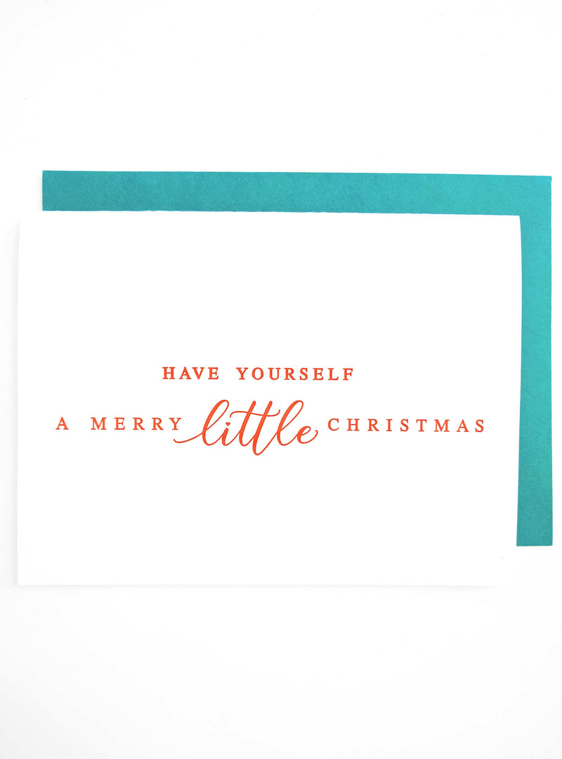 A Merry Little Christmas Letterpress Card - Tea and Becky