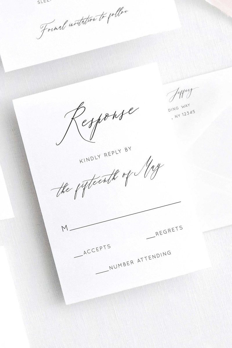 Letterpress RSVP Cards - Andrea Collection - Tea and Becky