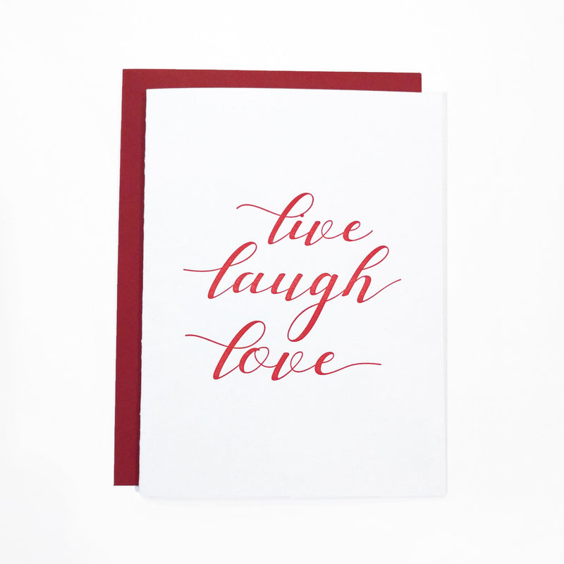 Live Laugh Love Letterpress Greeting Card - Tea and Becky