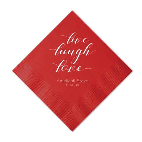 Live Laugh Love Napkins - Set of 50 Foil Personalized Cocktail Napkins - Tea and Becky