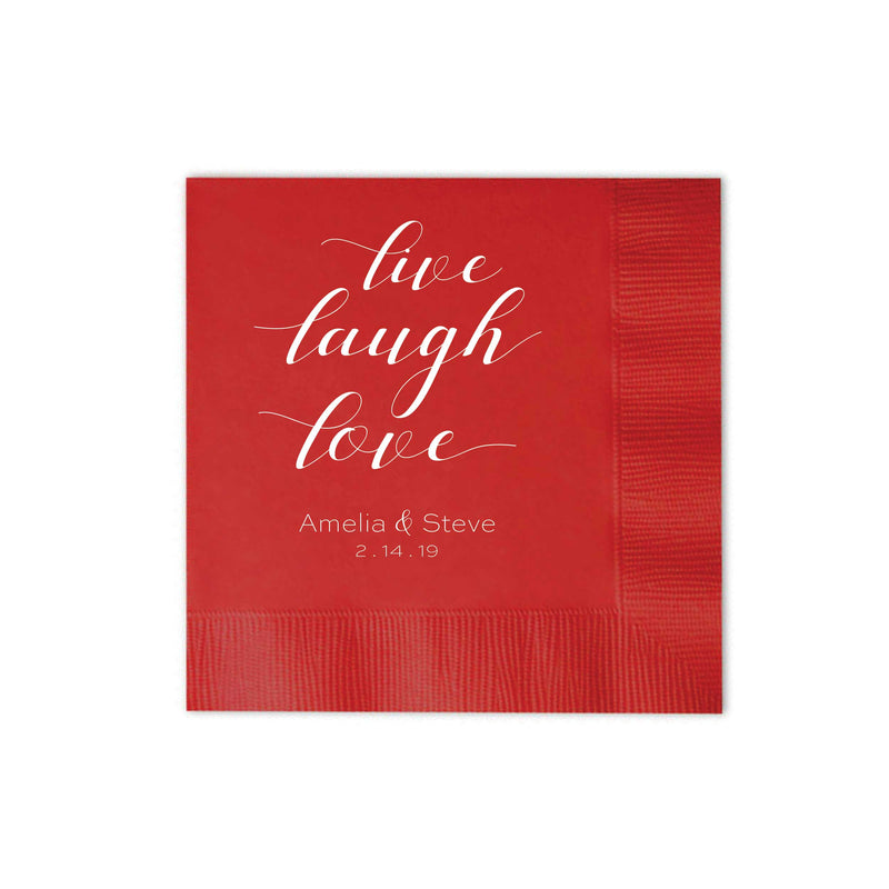Personalized Wedding Napkins Live Laugh Love - Tea and Becky