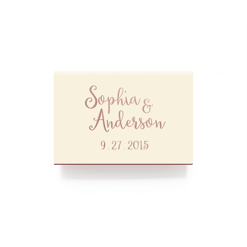 Love and Cherish Matchboxes - Foil Personalized Matches - Alicia Collection - Tea and Becky