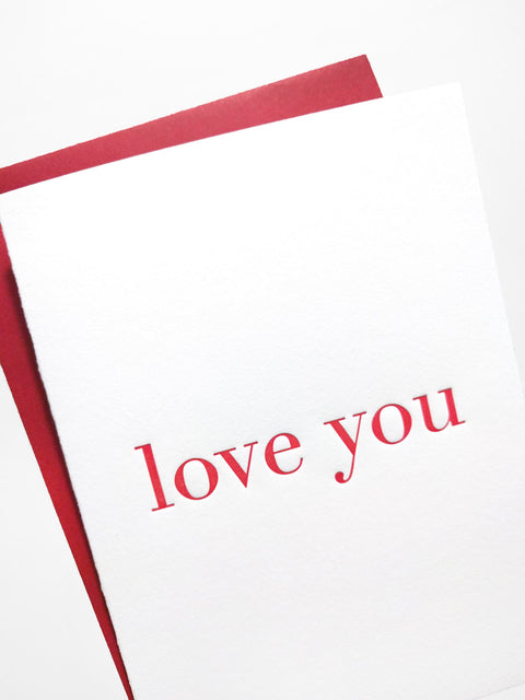 Love You Letterpress Greeting Card - Tea and Becky