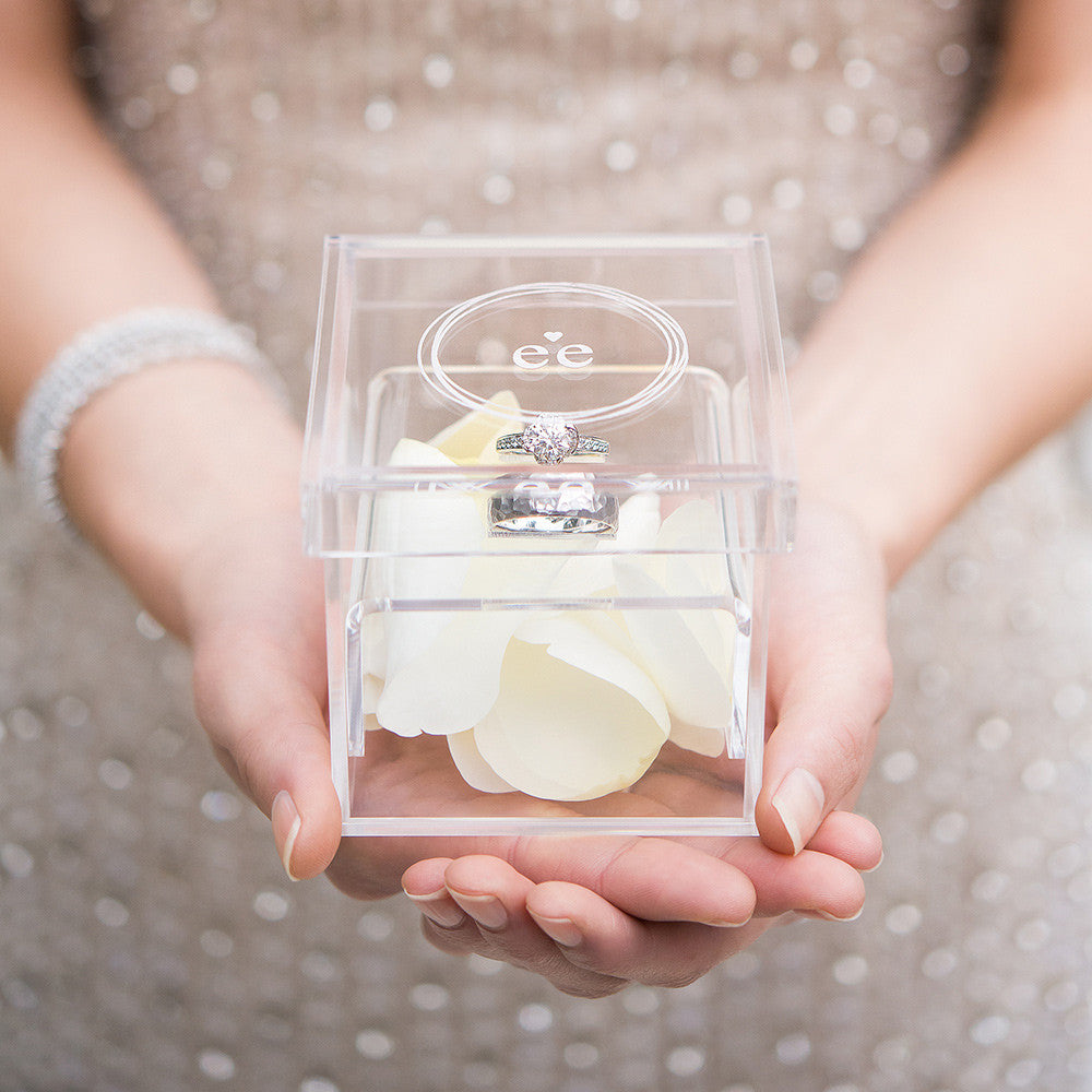 Monogrammed heart personalized lucite wedding ring box for Cute engagement ring boxes