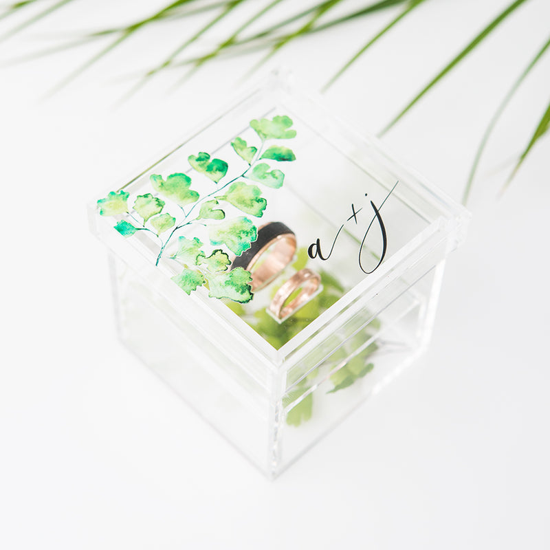 Lucite Wedding Ring Box - Watercolor Green Fern - Tea and Becky