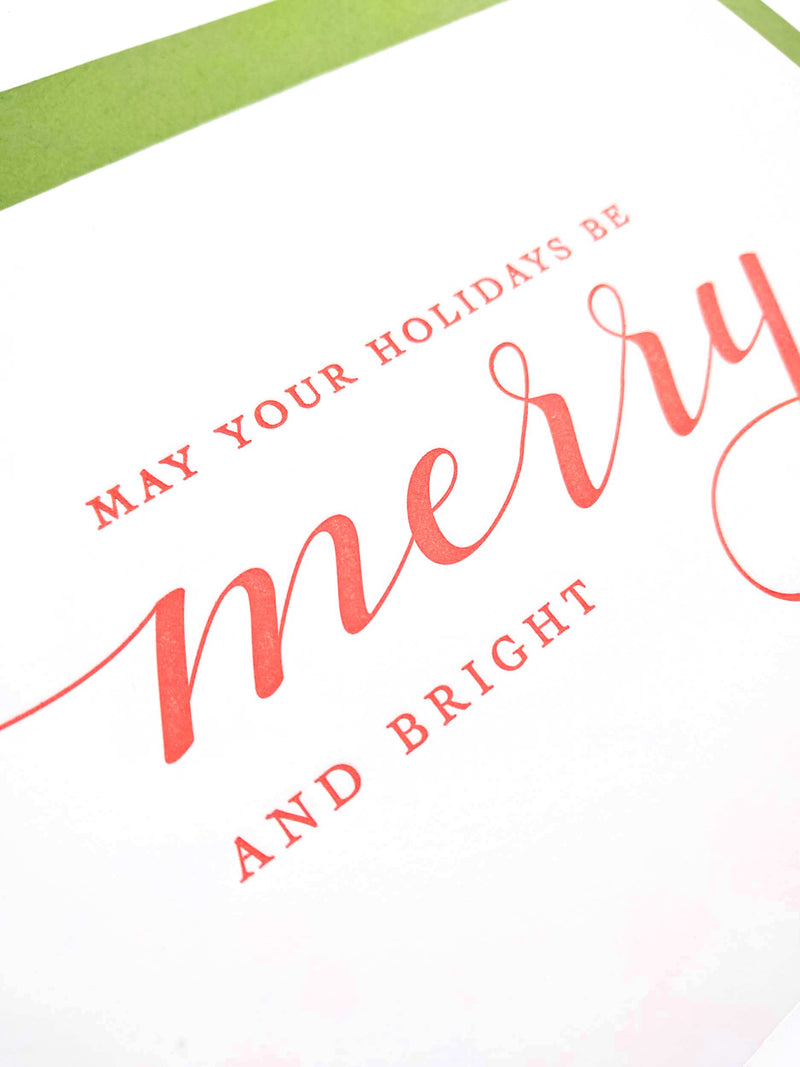 Merry and Bright Letterpress Holiday Cards - Set of 6 - Tea and Becky