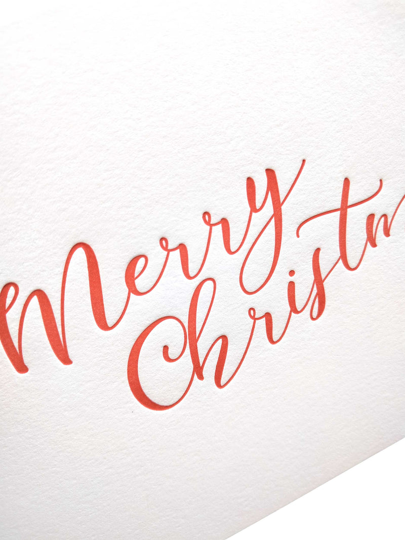 Letterpress Merry Christmas Cards - Set of 6 - Tea and Becky