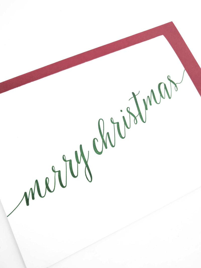Merry Christmas Letterpress Cards - Set of 6 - Tea and Becky