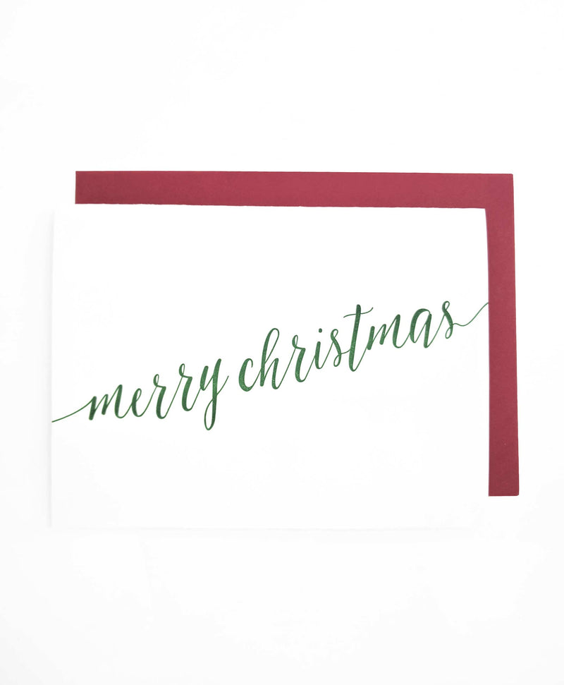 Merry Christmas Letterpress Card - Tea and Becky