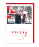 Merry and Bright Photo Christmas Cards - Foil Letterpress or Flat Printed - Tea and Becky