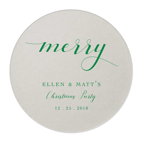 Merry Holiday Coasters – Personalized Holiday Favors - 25 Set - Tea and Becky
