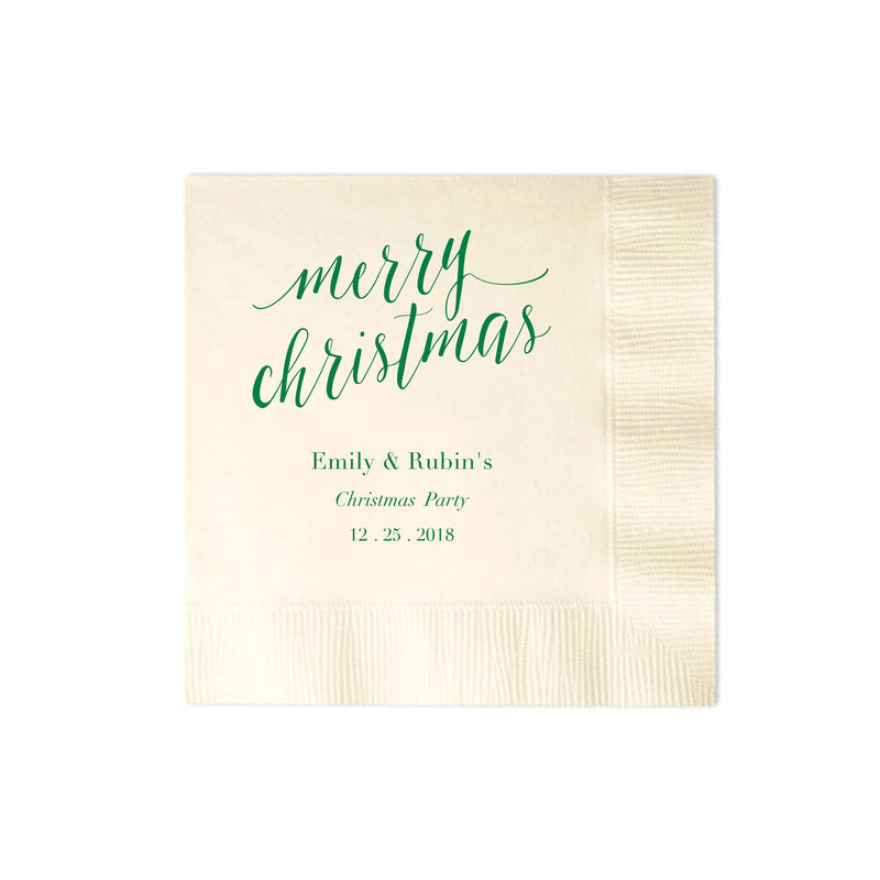 Merry Christmas Napkins - Set of 100 Personalized Holiday Napkins - Tea and Becky