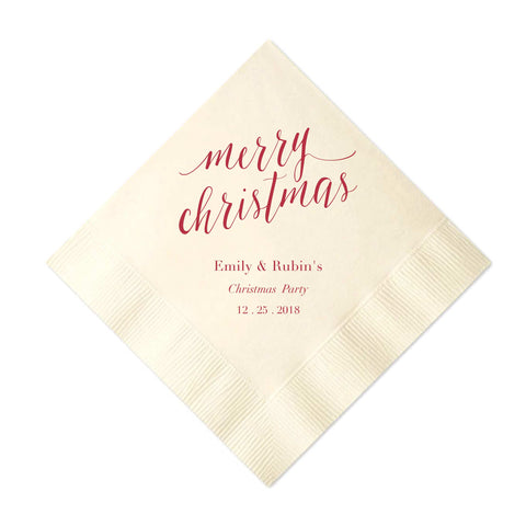 Merry Christmas Napkins - Set of 50 Personalized Holiday Napkins - Tea and Becky