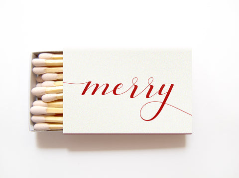 Merry Holiday Matchboxes - Personalized Holiday Matches - Tea and Becky