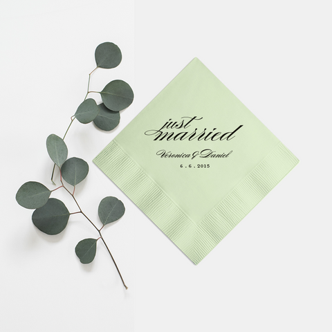 Just Married Napkins - Set of 100 Foil Personalized Cocktail Napkin - Audrey Collection - Tea and Becky