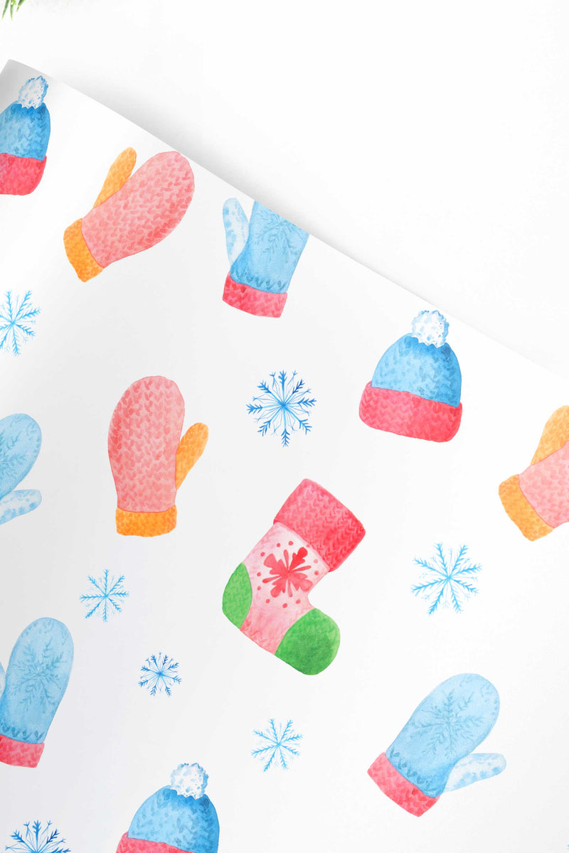 Hats and Mittens Christmas Wrapping Paper Sheets - Free Shipping - Tea and Becky