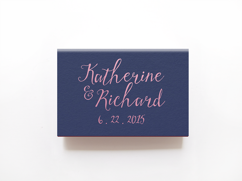 Rustic Monogrammed Matchboxes - Foil Personalized Matches - Jennifer Collection - Tea and Becky