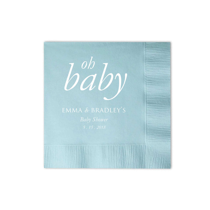 Oh Baby Napkins - Set of 100 Personalized Baby Shower Napkin - Nora Collection - Tea and Becky