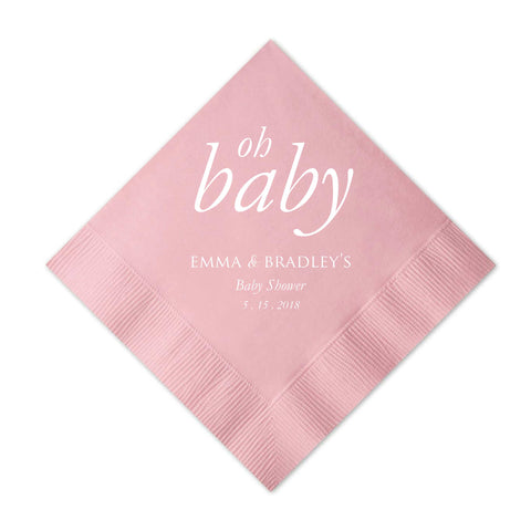 Oh Baby Napkins - Set of 50 Personalized Baby Shower Napkin - Nora Collection - Tea and Becky