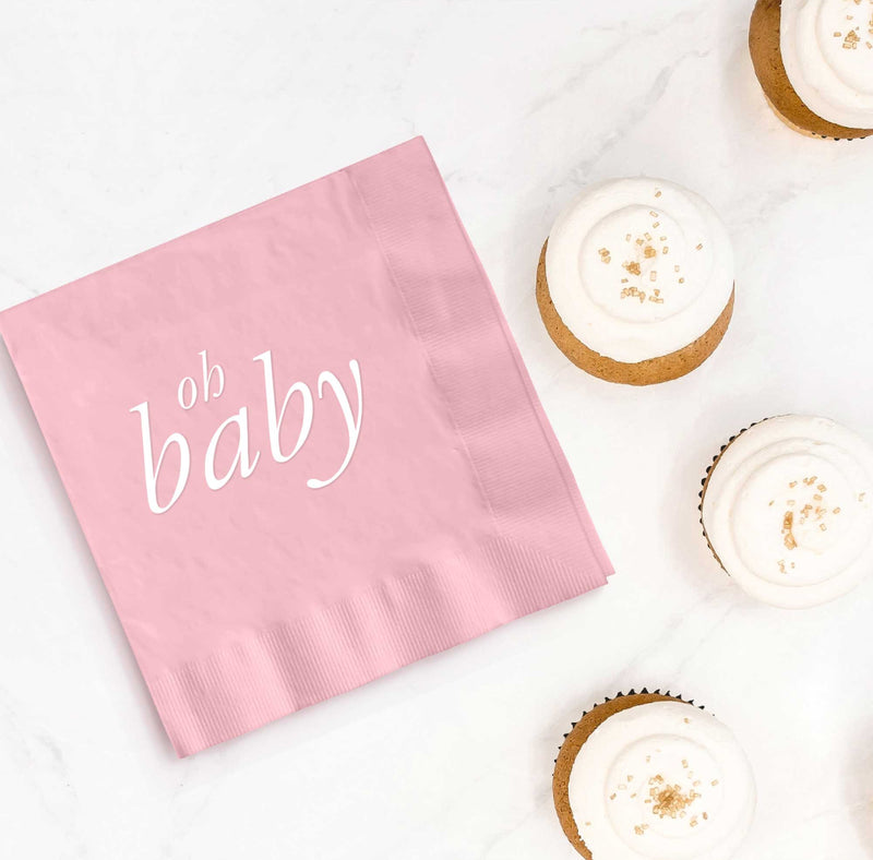 Oh Baby Napkins - Pink - Set of 25 - Tea and Becky