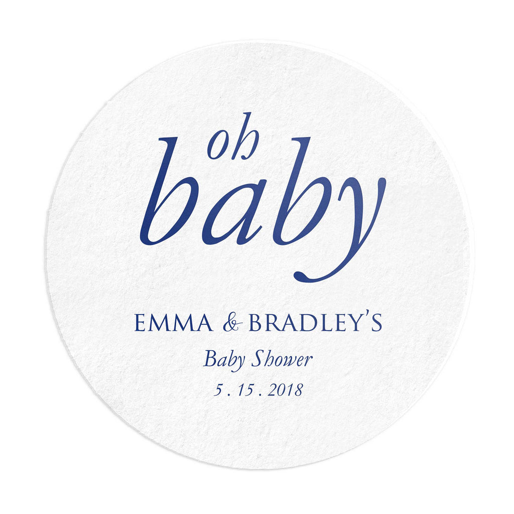 Baby Shower Coasters – Personalized Oh Baby Favors - 25 Set - Tea and Becky