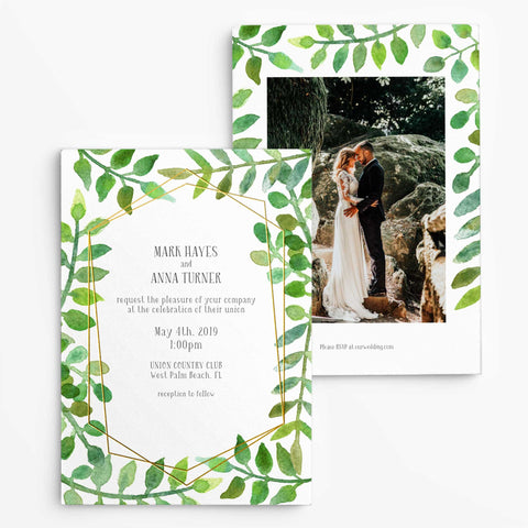 Photo Wedding Invitations - Foil Letterpress Invitations - Lovely Geometric Greenery - Tea and Becky