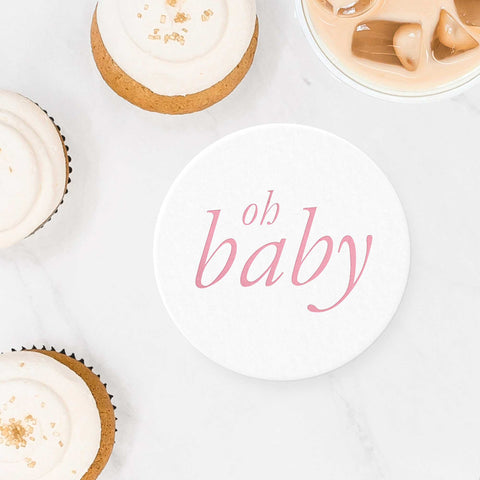 Oh Baby Coasters - Pink - Set of 10 - Tea and Becky