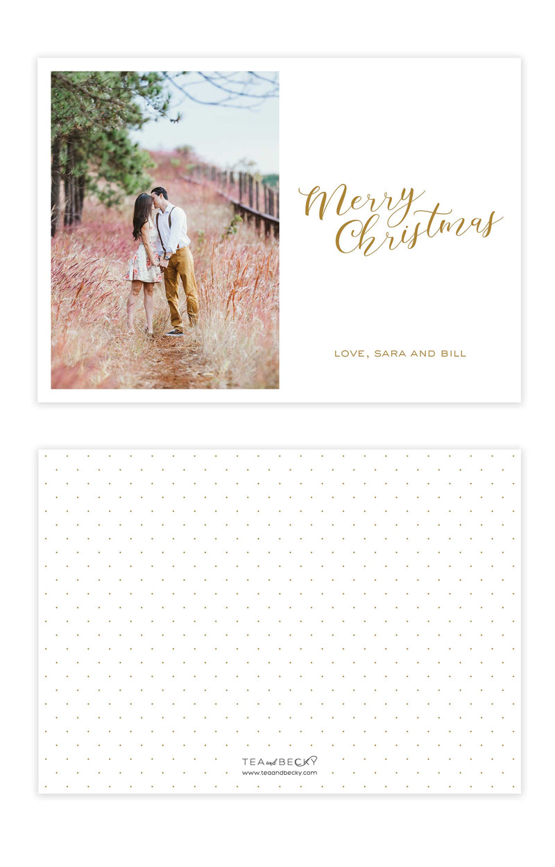 Photo Christmas Cards Merry Christmas - Foil Letterpress or Flat Printed - Tea and Becky