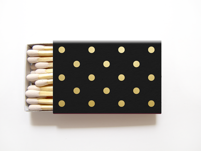 Polka Dot Matchboxes - Personalized Foil Matches - Sandy Collection - Tea and Becky