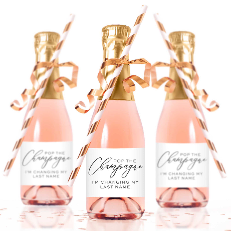 Pop the Champagne I'm Changing My Last Name Mini Champagne Bottle Labels - Tea and Becky