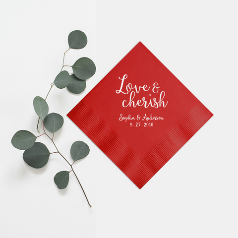 Love and Cherish Napkins - Set of 100 Foil Personalized Cocktail Napkin - Alicia Collection - Tea and Becky