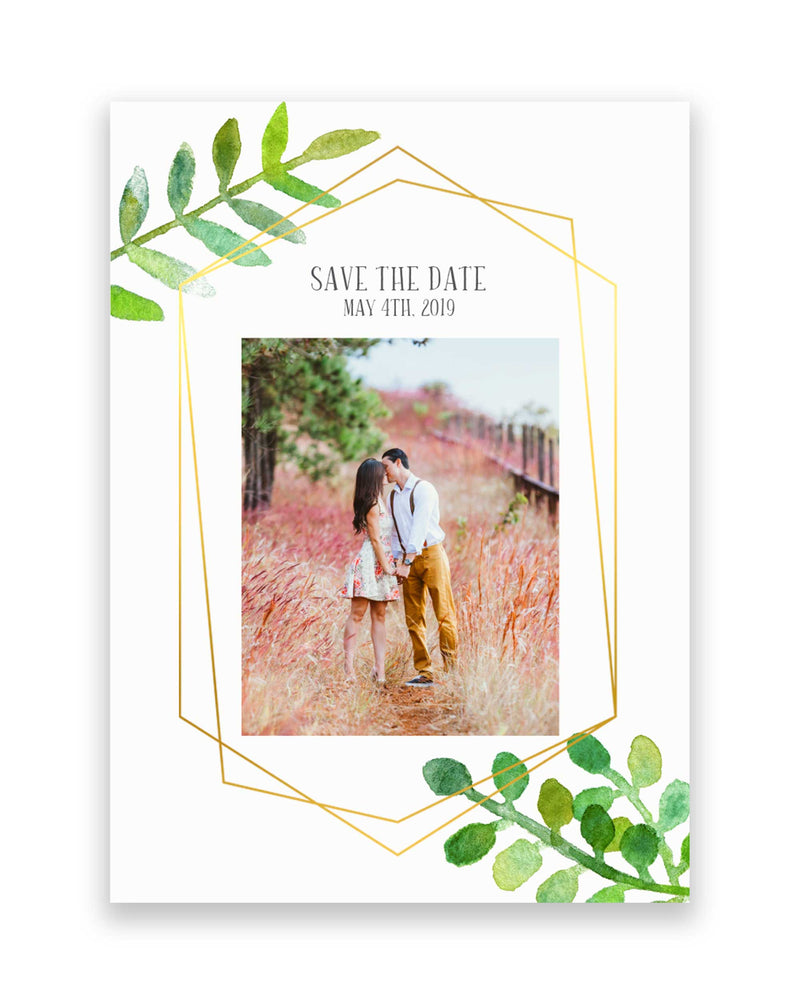 Photo Save the Dates - Foil Letterpress Invitations - Lovely Geometric Greenery - Tea and Becky