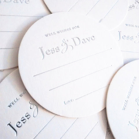 Well Wishes Coasters – 25 Set - Wedding Coaster - Guest Book - Tea and Becky