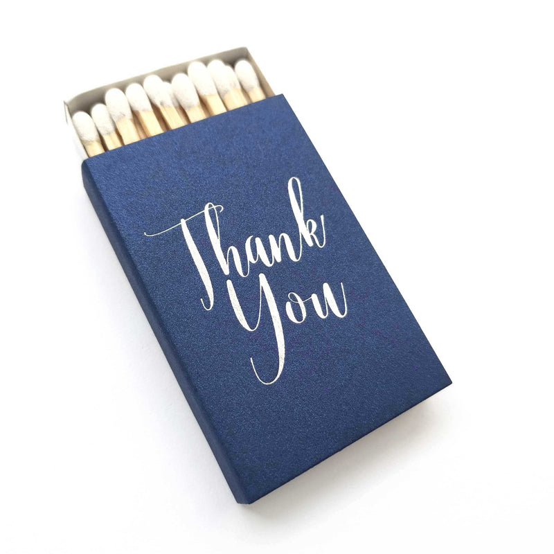 Elegant Thank You Matchboxes - Set of 6 - Tea and Becky