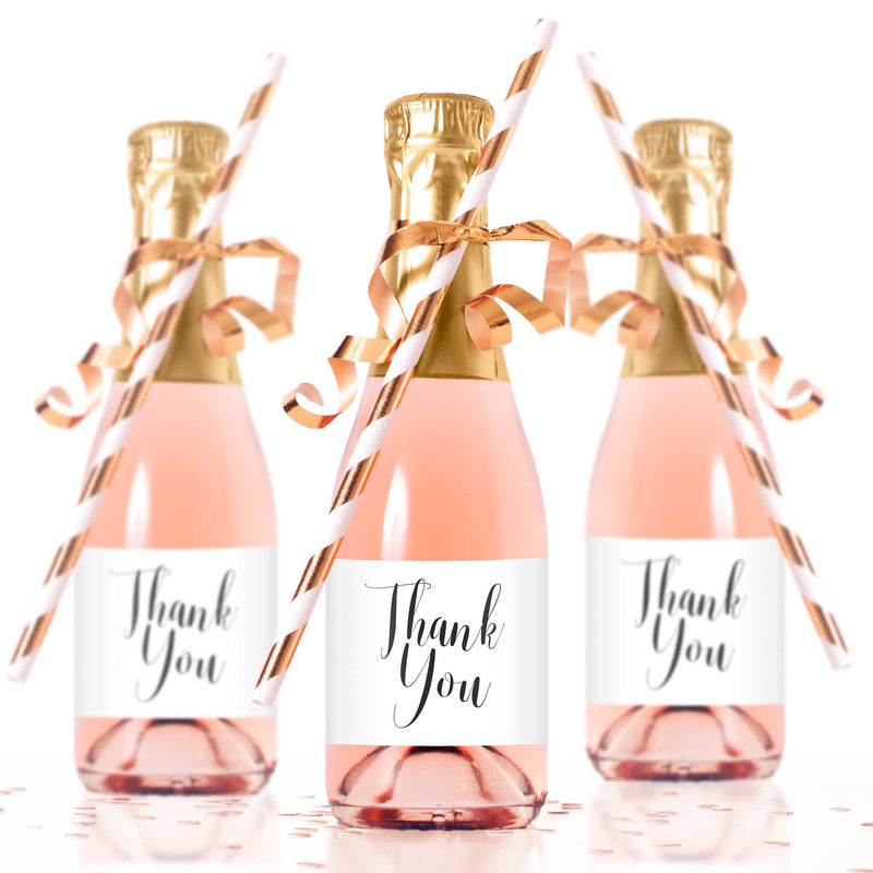 Thank You Mini Champagne Bottle Labels - Tea and Becky