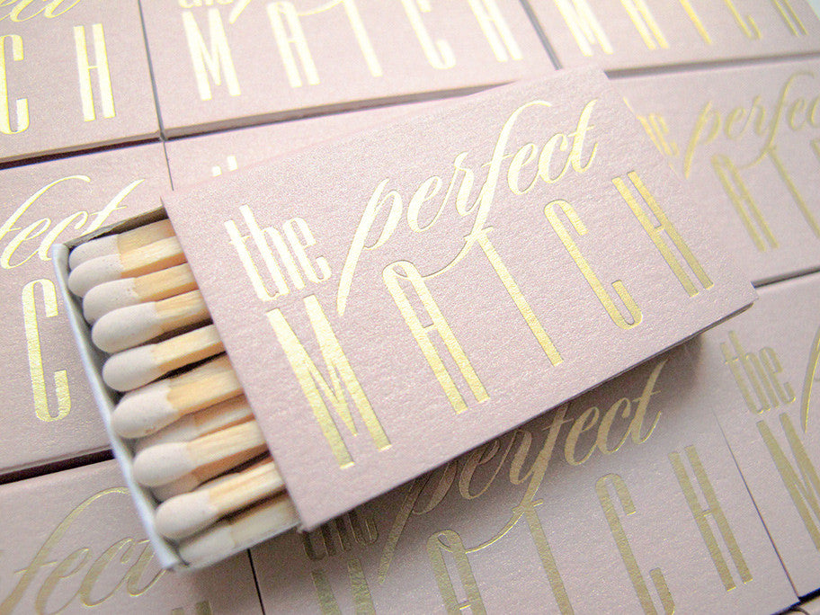 Pink and Gold Wedding Matches Set of 20 - The Perfect Match - Carrie Collection - Tea and Becky